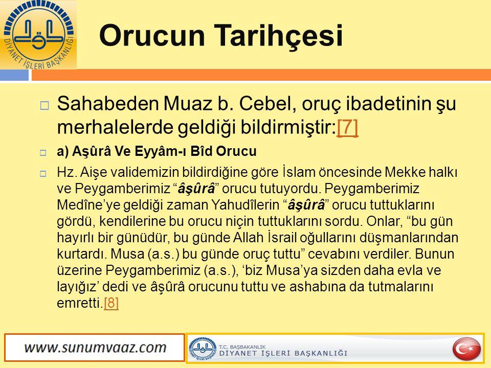 Orucun Tarihçesi Sahabeden Muaz b. Cebel, oruç ibadetinin şu merhalelerde geldiği bildirmiştir:[7]